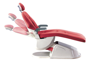 Gladent dental chair with aluminum backrest with leather cushion